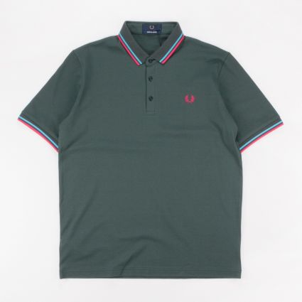 Fred Perry Made In Japan Piqué Shirt Deep Bottle Green/Bright Blue/Dark Pink1