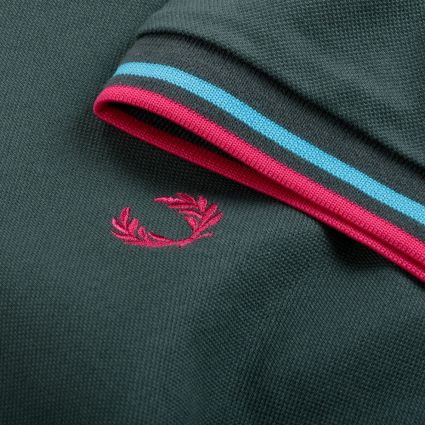 Fred Perry Made In Japan Piqué Shirt Deep Bottle Green/Bright Blue/Dark Pink
