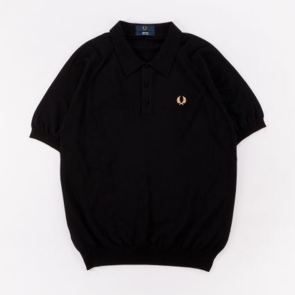 Fred Perry Reissues Raglan Sleeve Knit Shirt Black/Champagne
