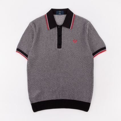 Fred Perry Reissues Two Colour Texture Knit Shirt Black/White/Bright Red