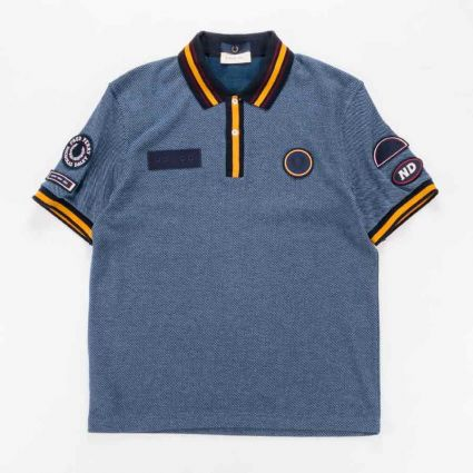 Fred Perry x Nicholas Daley Badge Polo Navy1