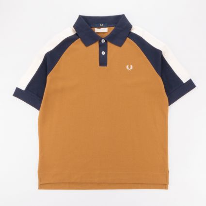 Fred Perry x Nicholas Daley Colour Block Polo Shirt Gold Leaf1