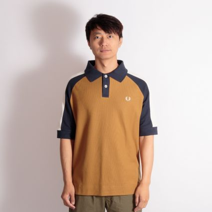 Fred Perry x Nicholas Daley Colour Block Polo Shirt Gold Leaf