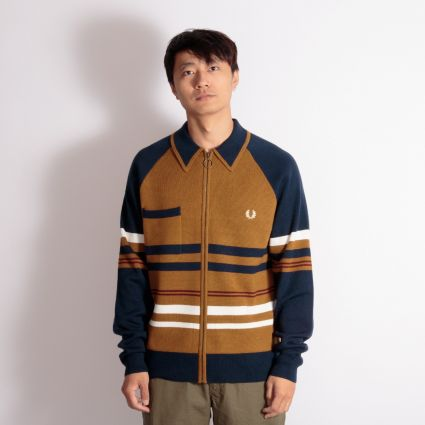 Fred Perry x Nicholas Daley Knitted Zip Through Gold Leaf