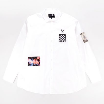 Fred Perry x Raf Simons Oversized Patched Shirt White1