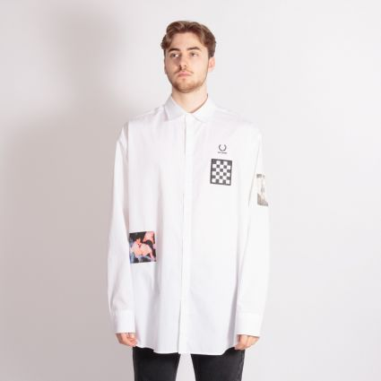 Fred Perry x Raf Simons Oversized Patched Shirt White