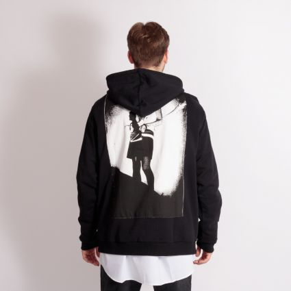 Fred Perry x Raf Simons Pin Detail Printed Patch Hoodie Black