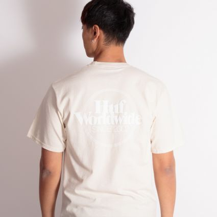 HUF Issues Logo Puff S/S T-Shirt Unbleached