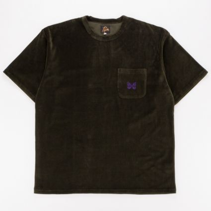 Needles Velour Short Sleeve Pocket T-Shirt Olive1