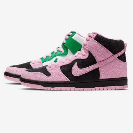 Nike SB Dunk High Pro Premium 'Invert' Black/Pink Rise-Lucky Green-White CU7349-001