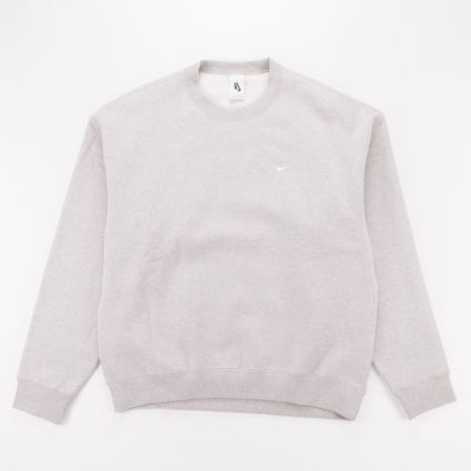 NikeLab Fleece Crew Sweatshirt Grey Heather/White1