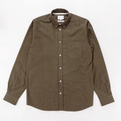 Norse Projects Anton Brushed Flannel Shirt Dark Green1