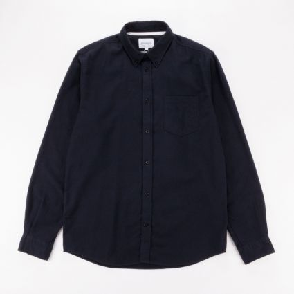 Norse Projects Anton Brushed Flannel Shirt Dark Navy1