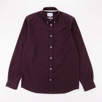 Norse Projects Anton Brushed Flannel Shirt Eggplant Brown1