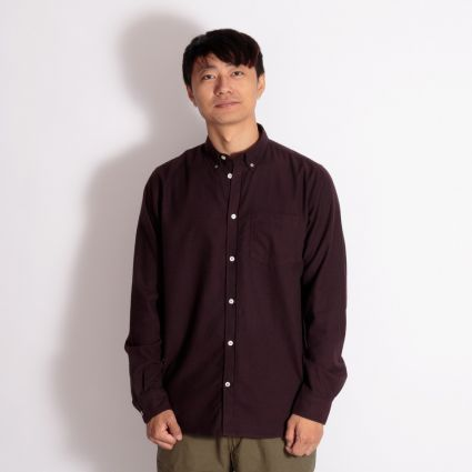 Norse Projects Anton Brushed Flannel Shirt Eggplant Brown