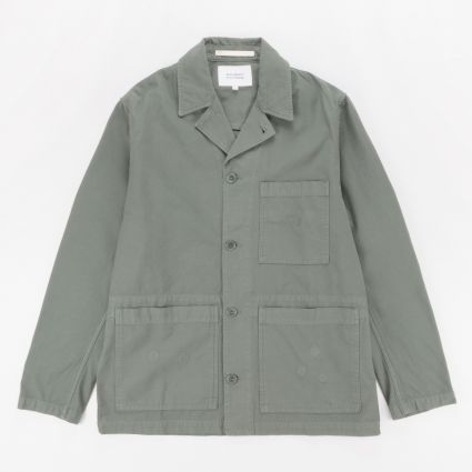 Norse Projects x Geoff McFetridge Mads Backsatin Jacket Thyme Green1