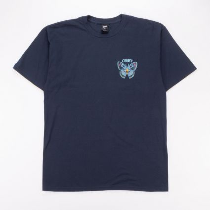 Obey Butterfly Basic Tee Navy1