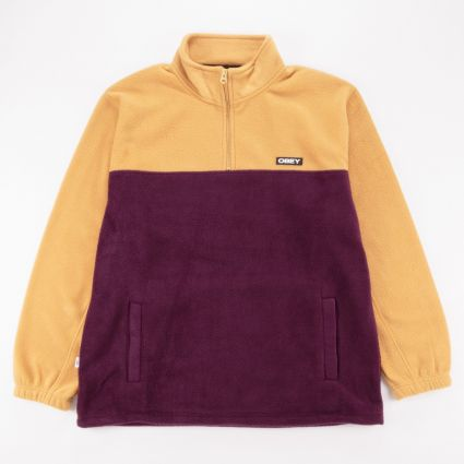 Obey Eulogy Mock Neck Zip Fleece Almond Multi1