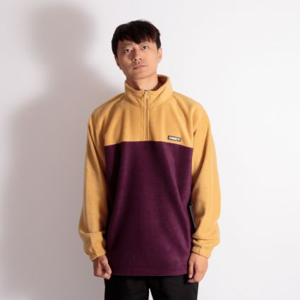 Obey Eulogy Mock Neck Zip Fleece Almond Multi