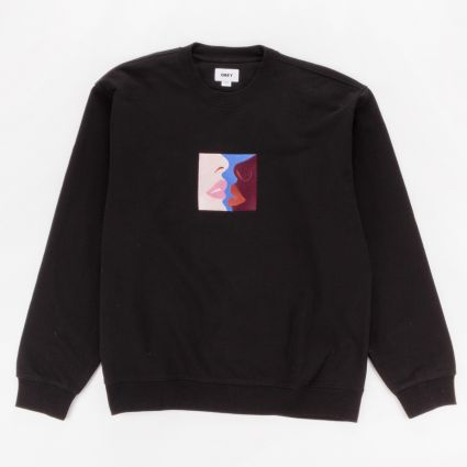 Obey Lips Crewneck Sweatshirt Black1