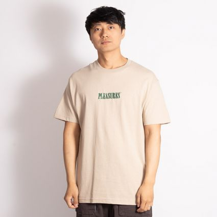 Pleasures Core Embroidered T-Shirt Sand