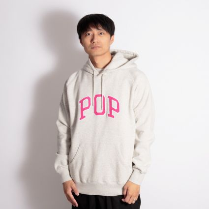 Pop Trading Arch Hoodie Off White Heather