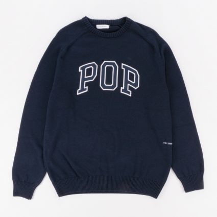 POP Trading Arch Knitted Crewneck Sweatshirt Navy