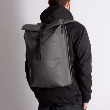RAINS Roll Top Rucksack Charcoal