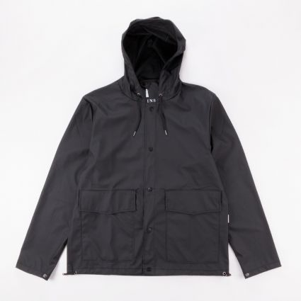 RAINS Short Hooded Coat Black1