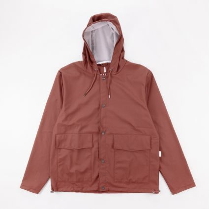 RAINS Short Hooded Coat Maroon1