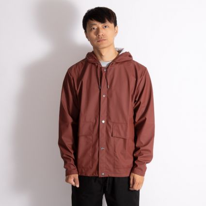 RAINS Short Hooded Coat Maroon