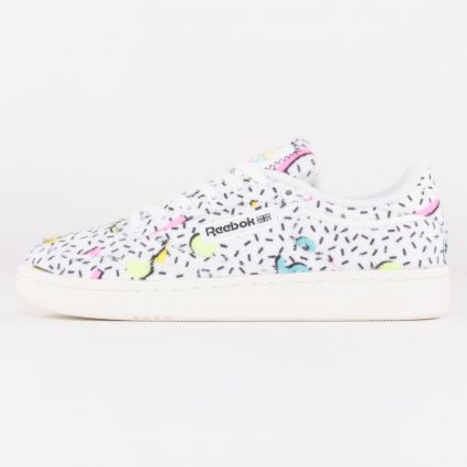 Reebok Women's Club C 85 White/Electric Flash F17-R/Neon Blue