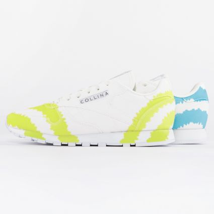 Reebok x Collina Strada CL Leather Footwear White/Digital Blue/Acid Yellow1