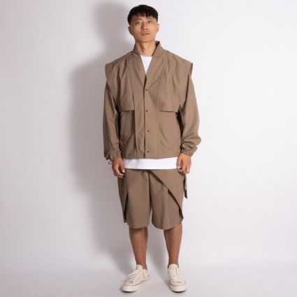Sasquatchfabrix. Oriental Shoulder Nylon Jacket Light Brown