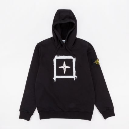 Stone Island Compass Print Hooded Sweatshirt Black1