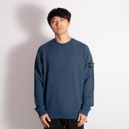 Stone Island Dust Colour Melange Crewneck Sweatshirt Avio Blue