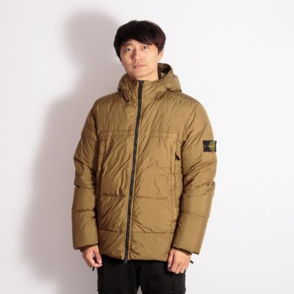Stone Island Garment Dyed Crinkle Reps NY Down Jacket Tobacco