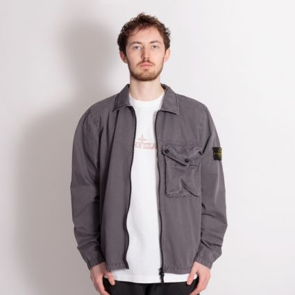 Stone Island Garment Dyed Overshirt Blue Grey