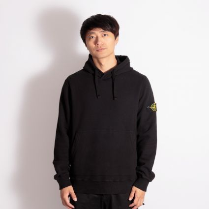 Stone Island Garment Dyed Popover Hoodie Black