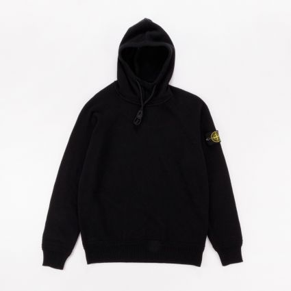 Stone Island Knitted Popover Hoodie Black1