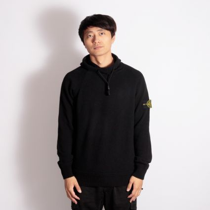 Stone Island Knitted Popover Hoodie Black