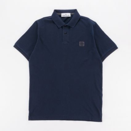 Stone Island Overdyed Patch Logo Polo Shirt Blue Marine1
