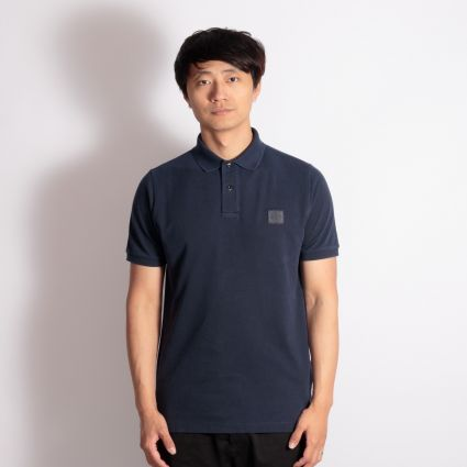 Stone Island Overdyed Patch Logo Polo Shirt Blue Marine