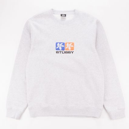 Stussy 2 Flowers App. Crew Sweatshirt Ash Heather1