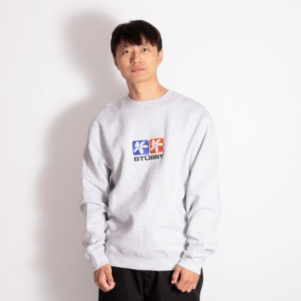 Stussy 2 Flowers App. Crew Sweatshirt Ash Heather