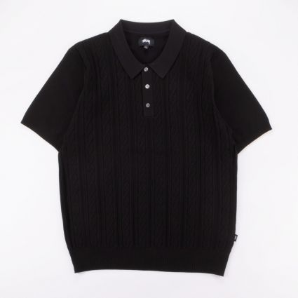 Stussy Cable Short Sleeve Polo Black1