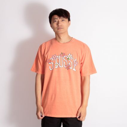 Stussy Flower Collegiate Pig. Dyed T-Shirt Pale Orange