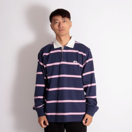 Stussy Hill Stripe LS Rugby Navy