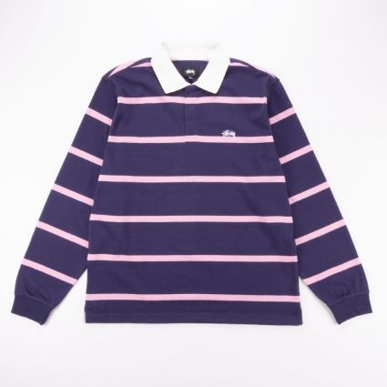 Stussy Hill Stripe LS Rugby Navy1