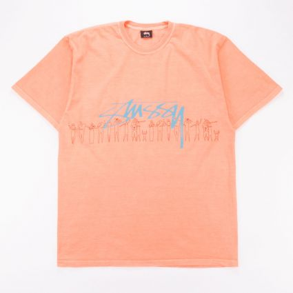 Stussy People Stripe Pig. Dyed T-Shirt Neon Orange1